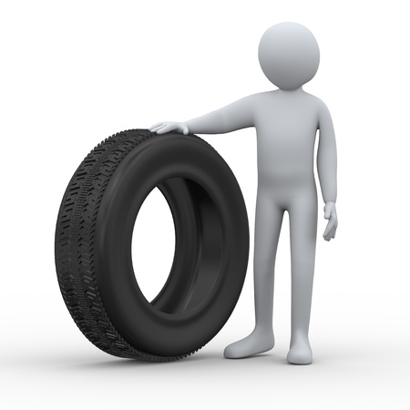 3d illustration of man standing with tyre. Stock Illustration - 21023502