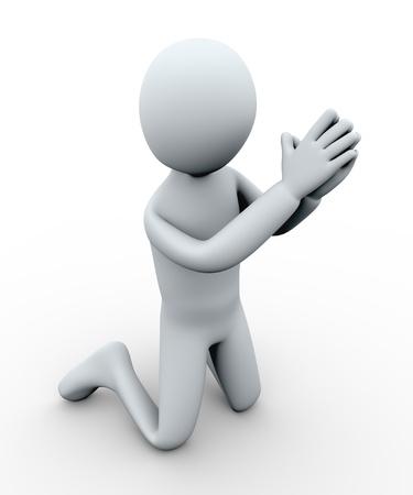 3D-afbeelding van persoon bedelen. 3D-weergave van het menselijk karakter. Stockfoto