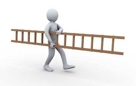 ladder safety: 3d illustration of person carrying ladder.  3d rendering of human character.