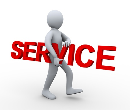 courier service: 3d illustration of person carrying word service.  3d rendering of human character.
