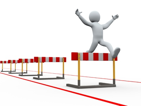 competing: 3d illustration of person jumping over track of hurdle obstacle. 3d rendering of people - human character. Stock Photo