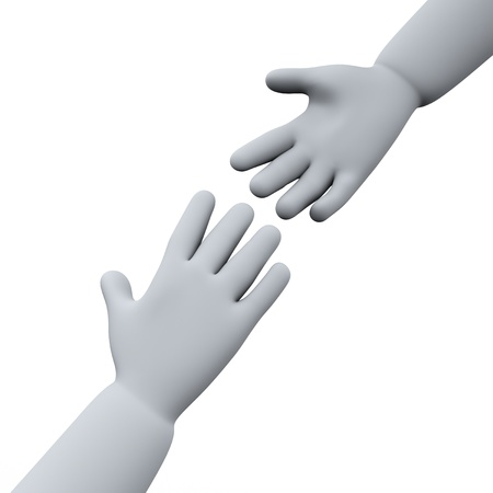 reaching: 3d illustration of helping hands. Stock Photo