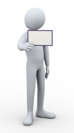 adding: 3d illustration of person showing blank card, useful for adding your own text.  3d rendering of human character.