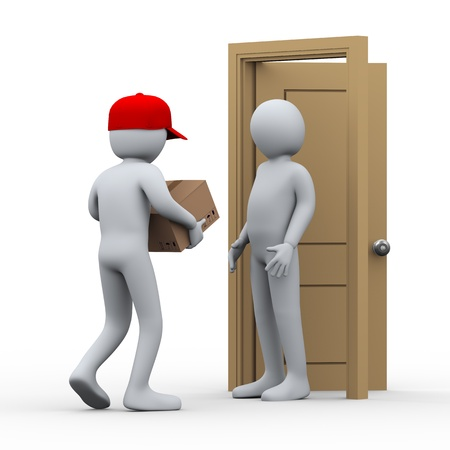 delivery package: 3d illustration of person free home delivering parcel to another man. 3d rendering of people - human character.