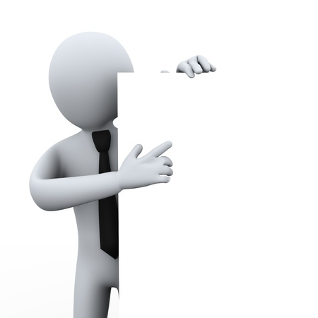 3d illustration of man pointing to empty board.  3d rendering of human character.
