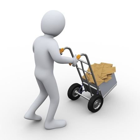 3d illustration of person pushing hand truck with box full of envelopes. 3d rendering of human character illustration