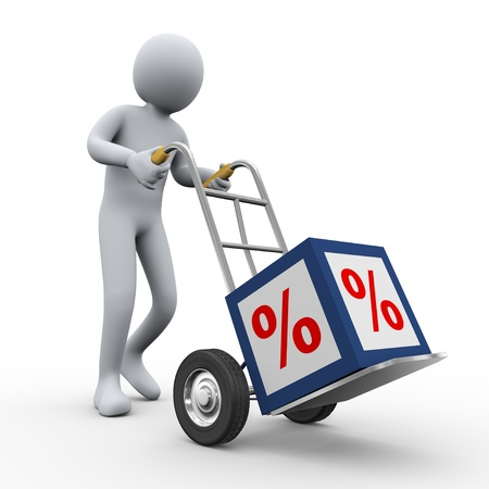 hand cart: 3d illustration of person pushing hand truck with percent sign cube. 3d rendering of human  character. Stock Photo