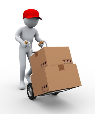 hand truck: 3d illustration of person with hand truck carrying cardboard boxes. 3d rendering of people -human character. Stock Photo