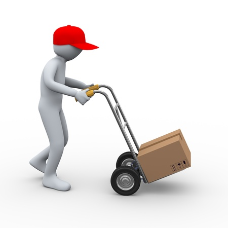 purchase order: 3d illustration of person with hand truck delivering cardboard box free shipping parcel. 3d rendering of human character