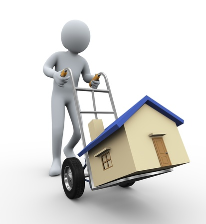 hand truck: 3d illustration of person carrying house. 3d rendering of human character.