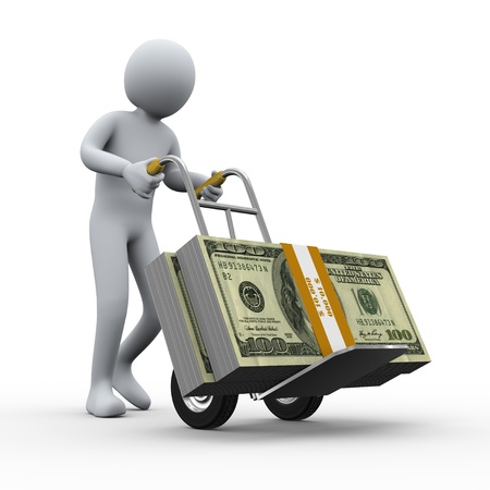money transfer: 3d illustration of person pushing hand truck with dollar packets. 3d rendering of human character.