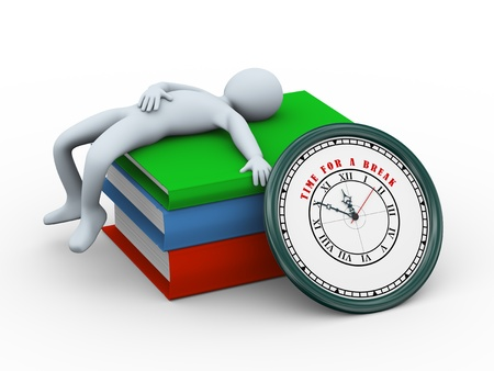 3d illustration of person sleeping on stack of books and clock with text time for a break.  3d rendering of human character. illustration