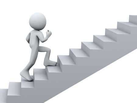 3d Illustration of man running on stair. 3d rendering of human character Stock Illustration - 21023565