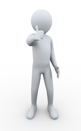 job satisfaction: 3d illustration of person giving thumbs up. 3d rendering of human character.
