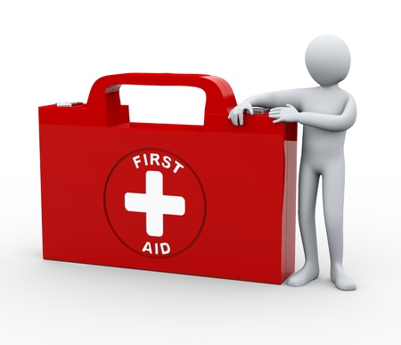 emergency kit: 3d illustration of man with first aid box.  3d rendering of human character. Stock Photo
