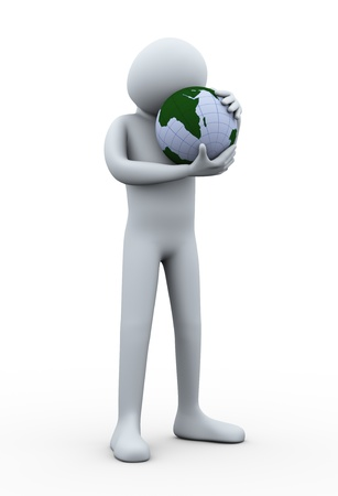3d illustration of person holding earth globe with love. 3d rendering of human character. illustration