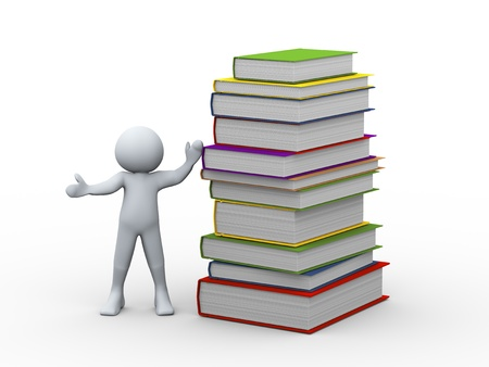 3d illustration of person with stack of books.  3d rendering of human character. Stock Photo