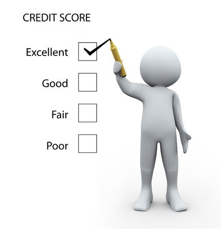 average guy: 3d Illustration of man rating credit score glass board. 3d rendering of human character Stock Photo