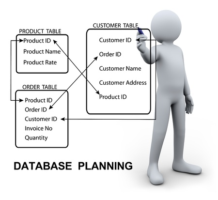 3d Illustration of person designing and writing relational planning of database management system. 3d rendering of human character. Stock Photo