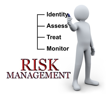 identity management: 3d illustration of person writing risk management concept on transparent glass.  3d rendering of human character.