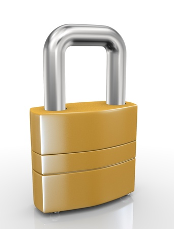 3d illustration of closeup of padlock on white background Stock Illustration - 21053924