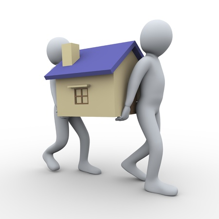sell house: 3d illustration of men carrying house. 3d rendering of human character. Stock Photo