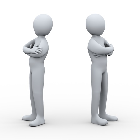 separated: 3d illustration of two disagree person. 3d rendering of human character