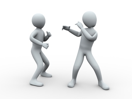 flexible business: 3d illustration of man posing and fighting with another person. 3d rendering of human character.