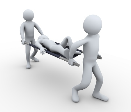firstaid: 3d illustration of people taking patient for first aid help. 3d rendering of human character