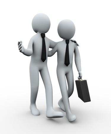 comunicación: 3d ilustración del hombre con breifcase caminando con su socio de negocios. Las 3D de personajes empresarios humanos.