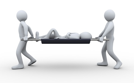 firstaid: 3d illustration of men taking patient for first aid help. 3d rendering of human character Stock Photo