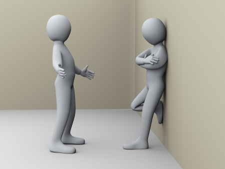 explaining: 3d illustration of man explaining to another person. 3d rendering of human character. Stock Photo
