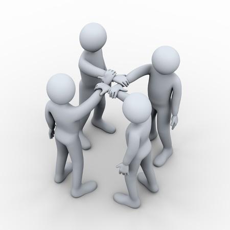 3d ilustración cuatro manos se unieron para hombre 3D togethe de carácter humano y el concepto de trabajo en equipo.