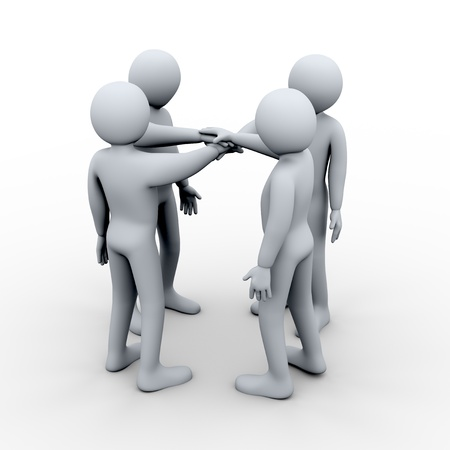 uniting: 3d illustration of men joing hands. Concept of teamwork. 3d rendering of human character.