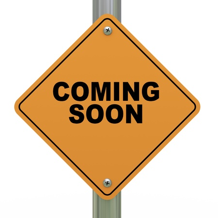 coming: 3d Illustration of road sign of coming soon. Stock Photo