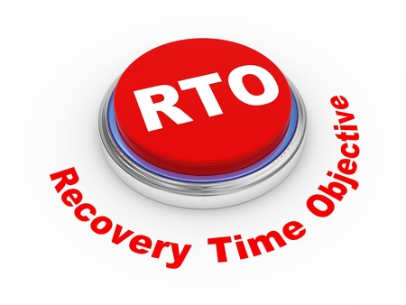 time critical: 3d illustration of rto recovery time objective button