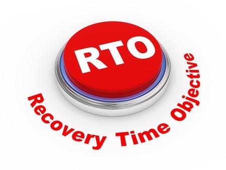objetivo: 3d ilustración de botón objetivo de tiempo de recuperación rto