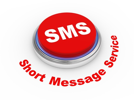 short message service: 3d illustration of sms ( short message service ) button