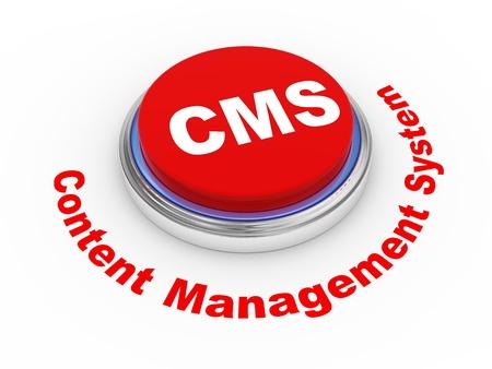 cms: 3d illustration of cms (content management system) button