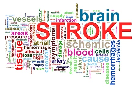 paralysis: Illustration of brain stroke word tags wordcloud Stock Photo