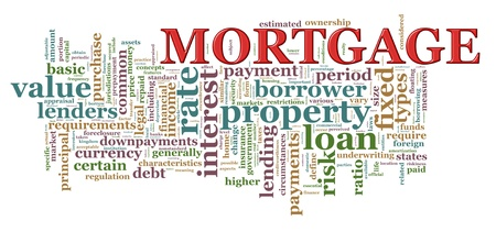 granting: Illustration of Wordcloud word tags of mortgage.