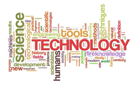 textcloud: Illustration of technology word tags wordcloud Stock Photo