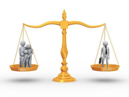 unequal: Ilustraci�n 3D de los miembros de la familia y hombre de trabajo en concepto de oro de escala de equilibrio entre el trabajo, la vida y la familia de representaci�n 3D de la gente - car�cter humano