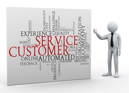 servicio al cliente: Ilustraci�n 3d de hombre que presenta etiquetas de palabras wordcloud de 3d prestaci�n de servicio al cliente de car�cter gente humana Foto de archivo