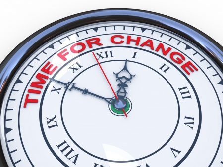 time change: 3d illustration of closeup of clock with words time for change