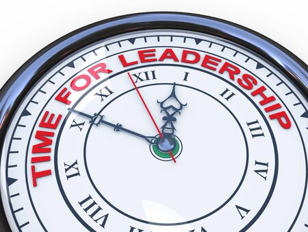 influence: 3d illustration of closeup of clock with words time for leadership Stock Photo