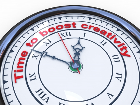 change of direction: 3d illustration of closeup of clock with words time to boost creativity Stock Photo