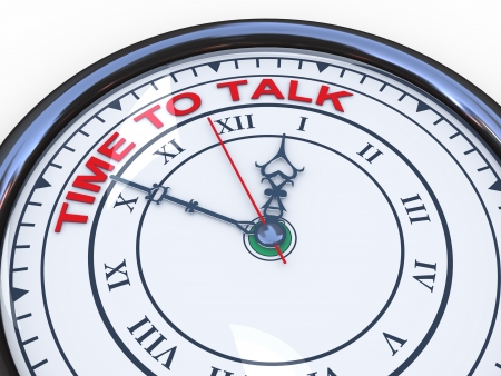 cooperate: 3d illustration of closeup of clock with words time to talk Stock Photo