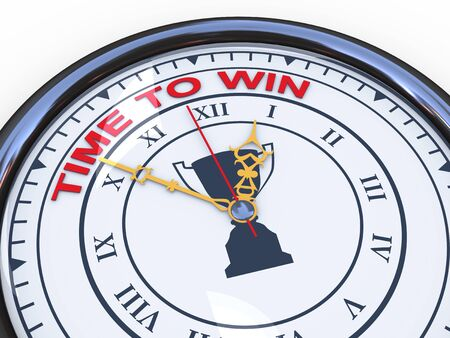 3d illustration of closeup of clock with words time to win Stock Illustration - 21054019