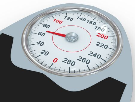 3d illustration of dial of bathroom weight scale  Concept of control diet, exercise and weight loss Stock Illustration - 21054022